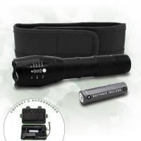 Lampe securite LED ultra puissante avec batterie et attache, et boite militaire comprenant 3 accessoires offerts