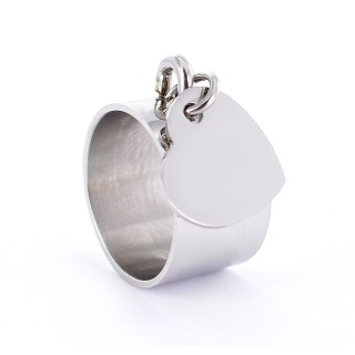 Bague femme médaille charm's – Emotional - Médaille Coeur 13mm en acier personnalisée pour tous types d'événements