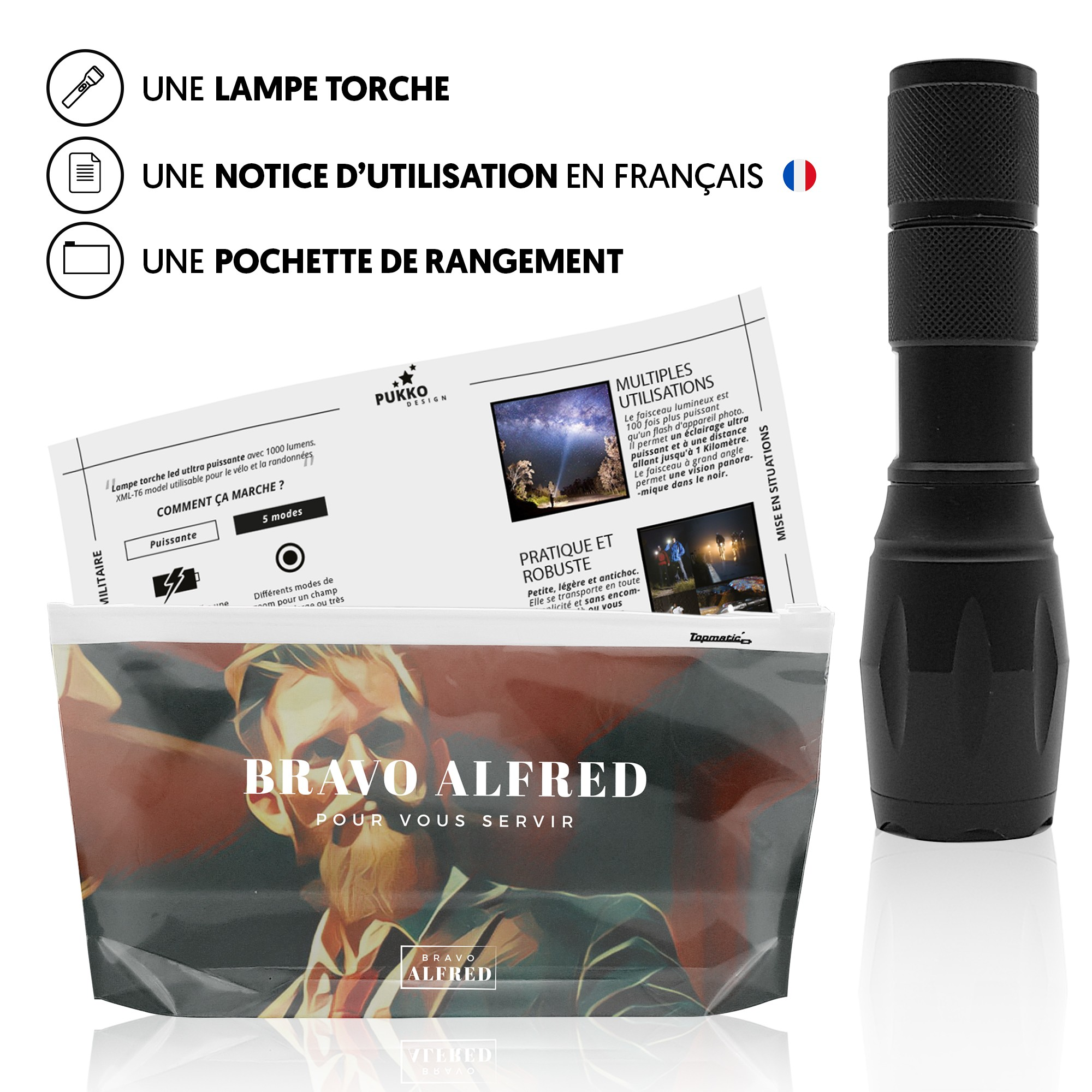 lampe torche bravo alfred led 1000lm xml t6 lampe torche. Black Bedroom Furniture Sets. Home Design Ideas